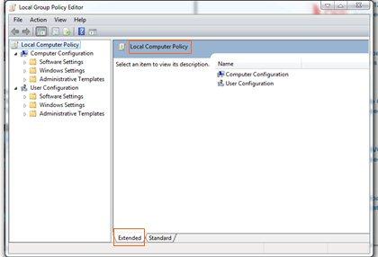 Local Group Policy Editor windows 7