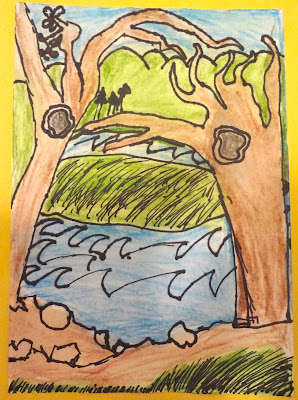 lanscape lesson for kids, perspective lesson for kids, mothers day cards for kids