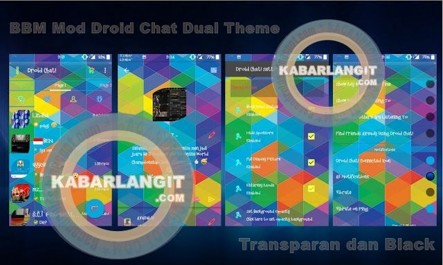 BBM Mod DroidChat Dual Theme Transparent & Black Theme Versi 2.10.0.35