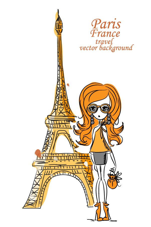 エッフェル塔観光の美女 Line art girl the Eiffel Tower イラスト素材