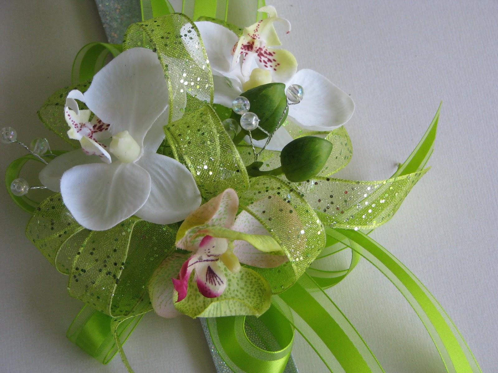 Violettas White And Green Orchid Silk Wrist Corsage