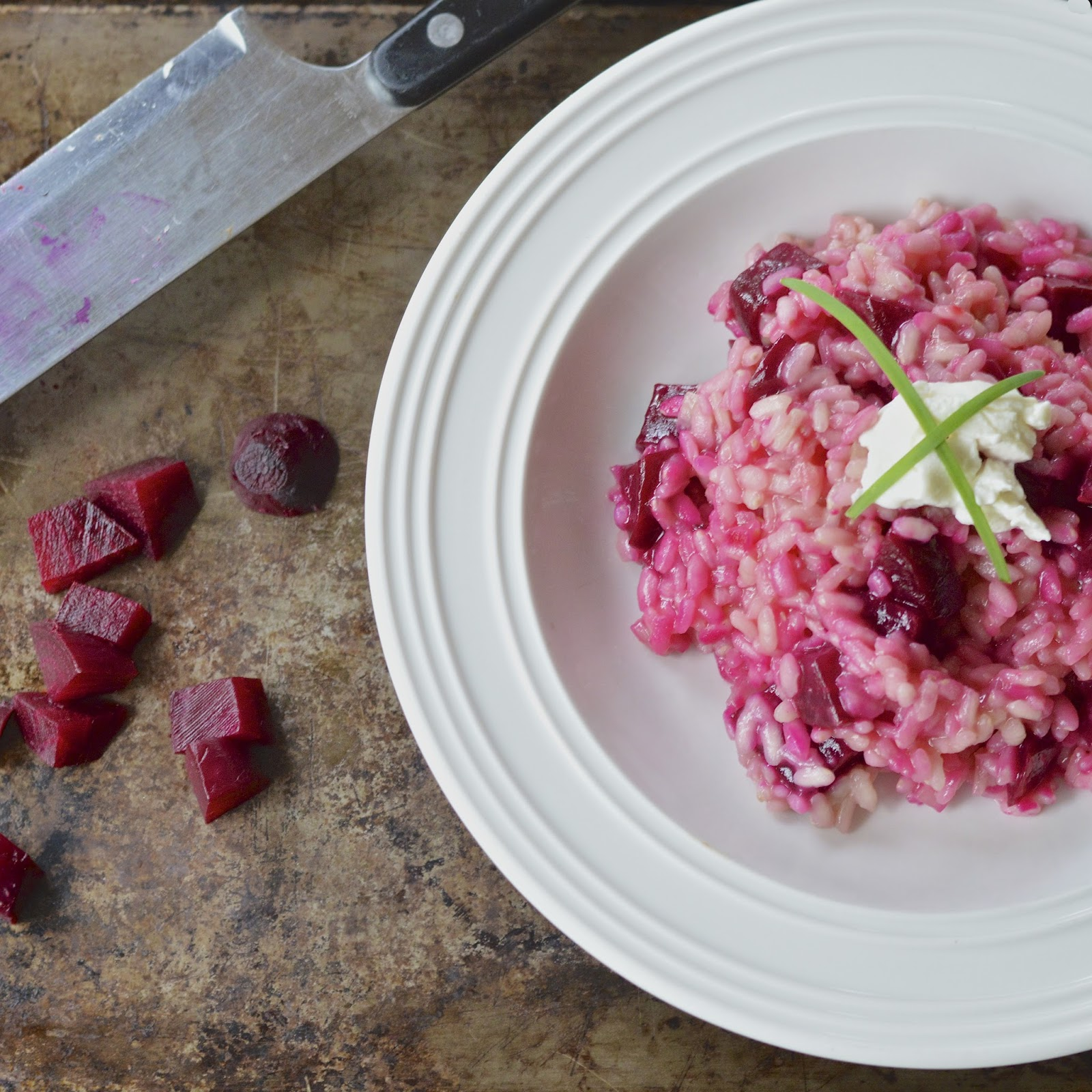 Beet Risotto with Goat Cheese | Virtually Homemade: Beet Risotto with ...