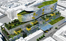 A computer-generated image of the the proposed children's hospital at the Mater hospital site