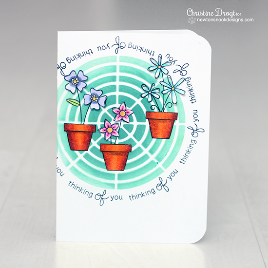 Fun Flower Pot card by Christine Drogt using Versatile Vases Stamp set | Newton's Nook Designs