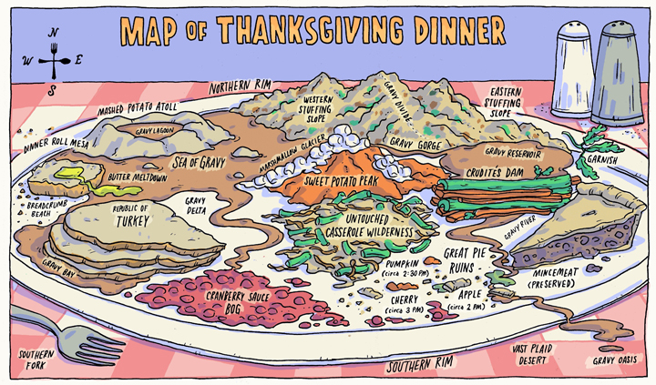 map of Thanksgiving dinner