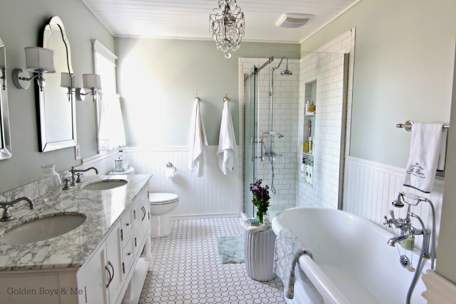 DIY master bath with carrera marble, white subway tile, freestanding tub-www.goldenboysandme.com