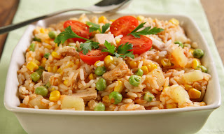 Arroz de forno com legumes light
