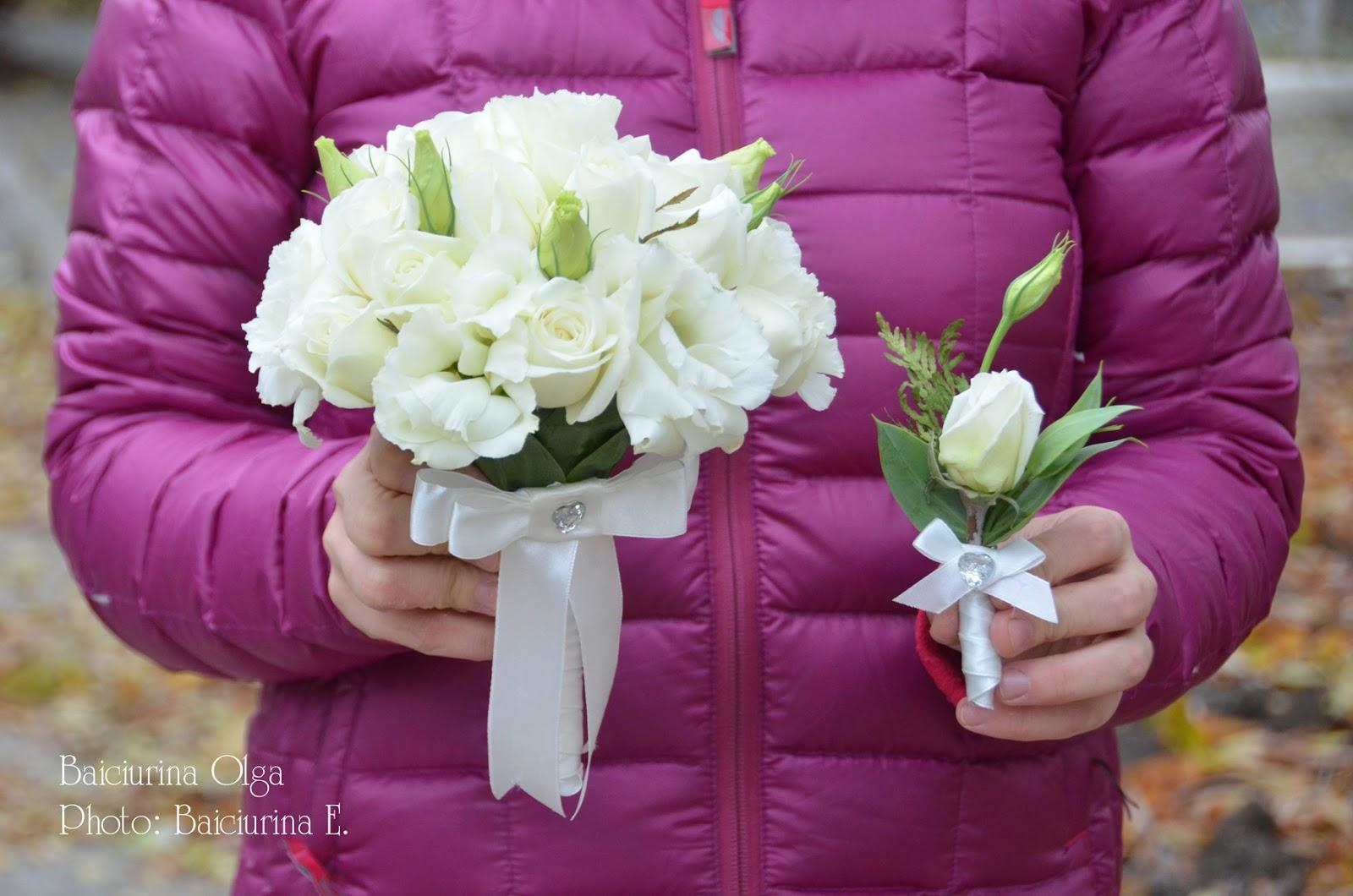 Букет свадебный букет и бутоньерка фото цветов