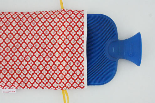 Hot water bottle cover tutorial - place hot water bottle in the cover