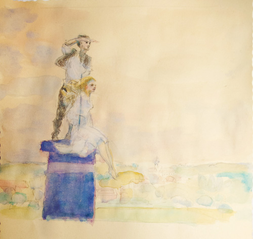 «On the Chimney», 2011 (watercolor from film Postriziny) by Annie Nguyen-Bárány