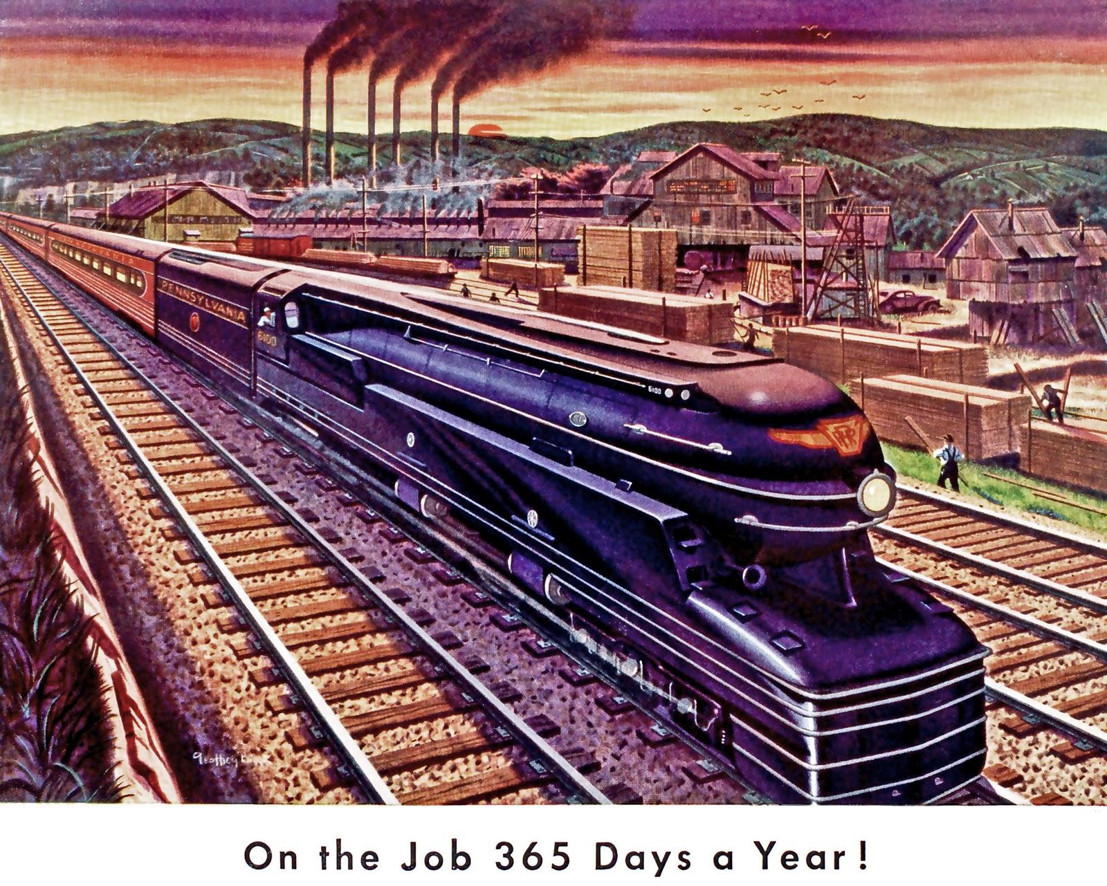 transpress nz Pennsylvania Railroad art 1940s
