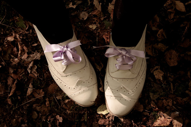 white brogues lilac ribbon