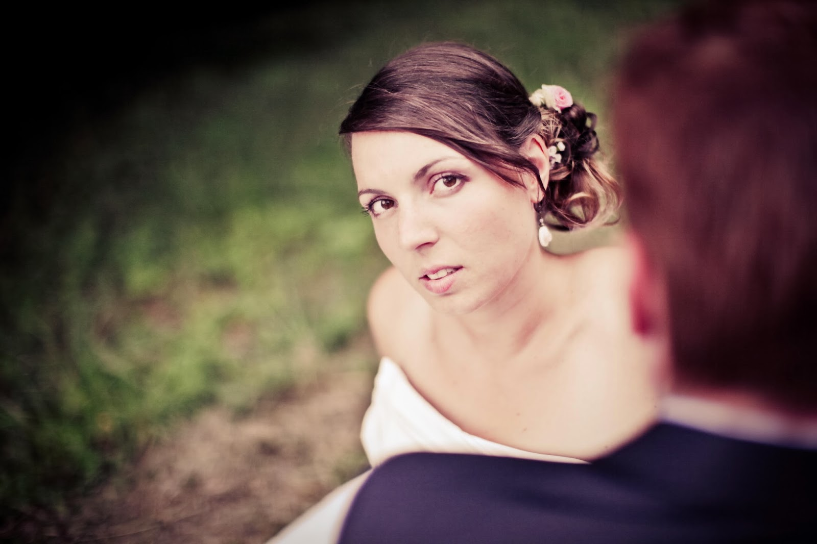 The bride looking at the camera, retro styled photography by Elisabeth Perotin