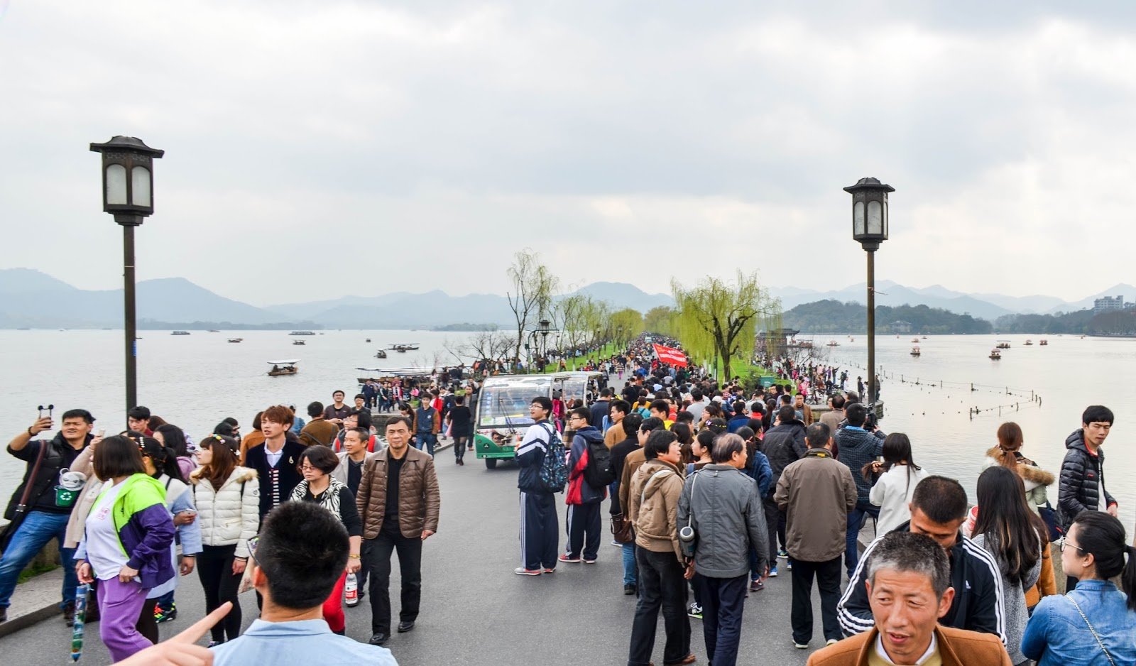 Crowd of people in Hangzhou China