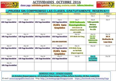 ACTIVIDADES OCTUBRE 2016