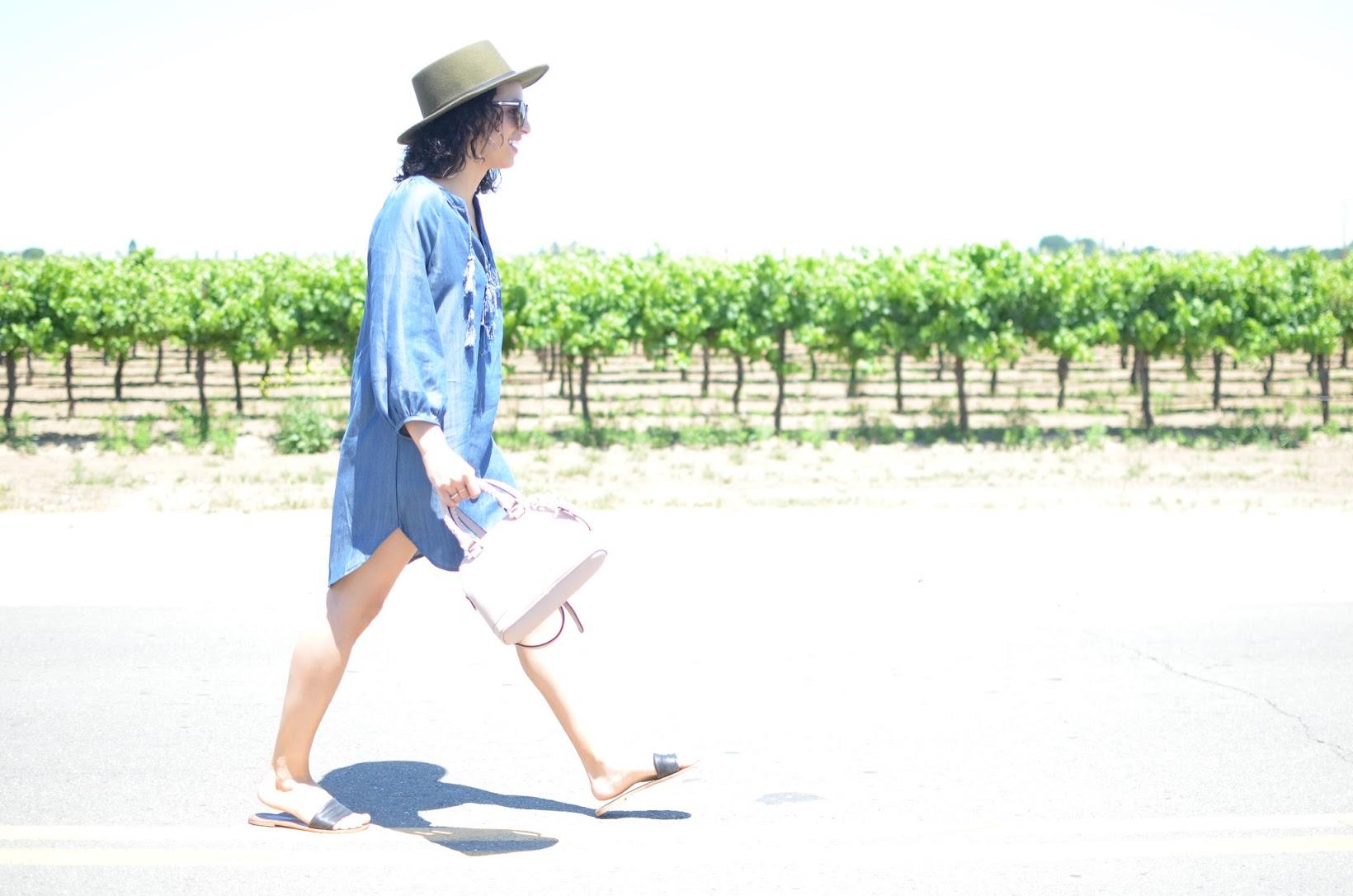 TopShelf Style, tunic, tassel tunic, SF style, Goorin Bros fedora, slide sandals, Urban Expressions, curly hair, Karen Walker Super Sunglasses, Lodi wine