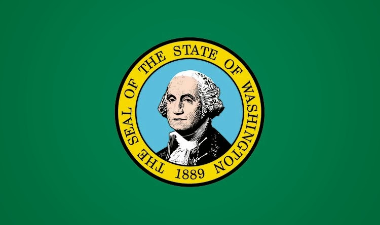 The flag of the state of Washington featuring the Seal of the State of Washington