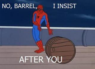 funny spiderman barrel roll