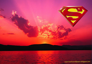 Superman free wallpapers Superman Logo posters. Superman Desktop Logo in Sunset Nights background