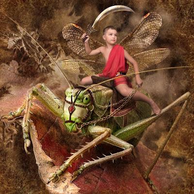 Niño con su espada sobre un chapulín de imágenes fantásticas