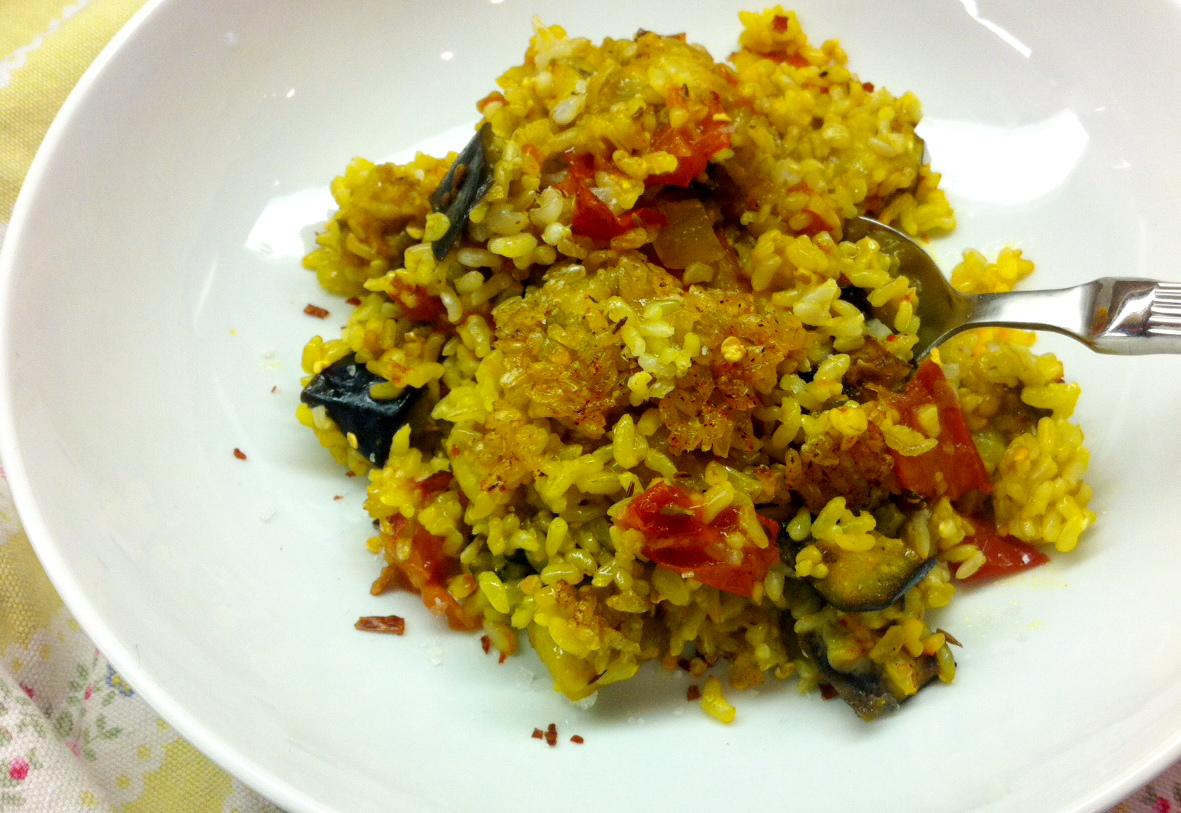 Eggplant, Mozzarella, And Saffron Rice Bake Recipes — Dishmaps