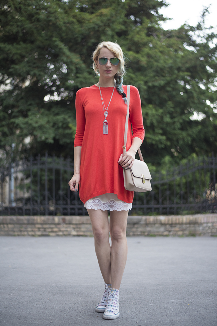 Skinny Buddha tangerine Atmosphere sweater dress