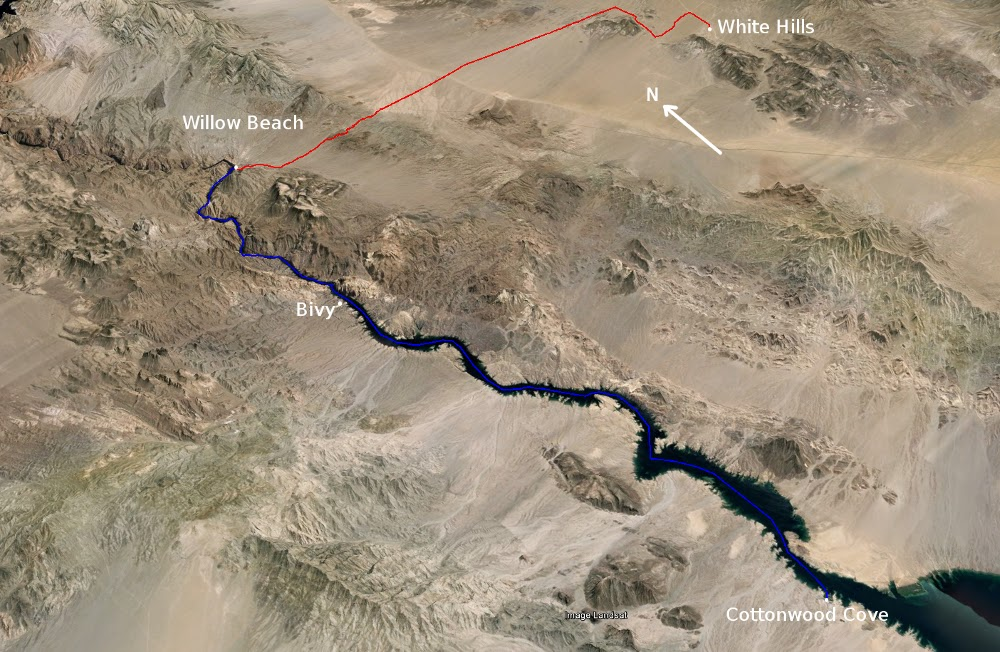 Map of portage and paddle; White Hills, AZ to Cottonwood Cove, NV