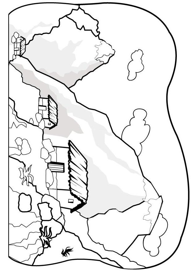 Coloring Page Mountains P
