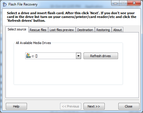 Flash file recovery start screen