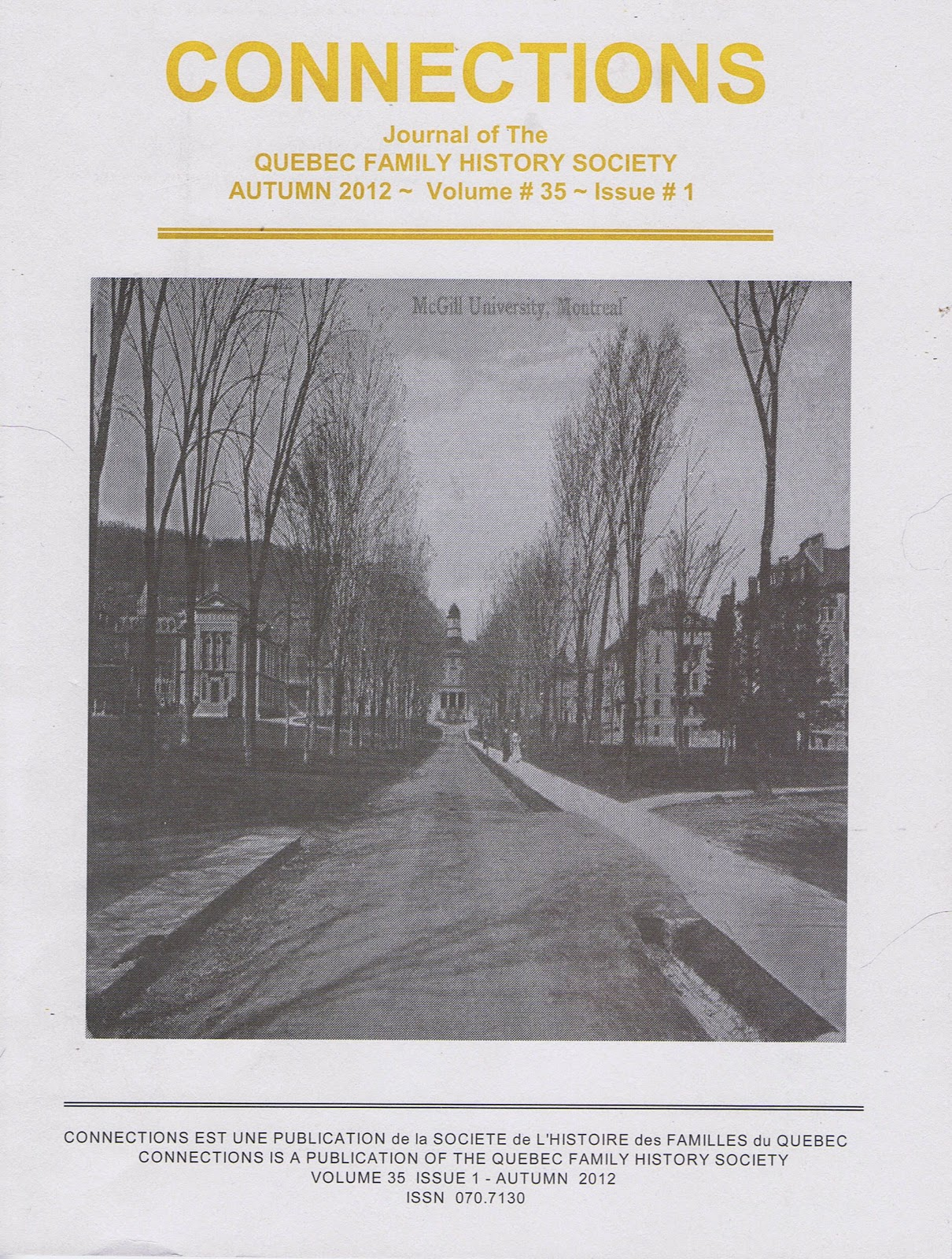 """Genealogy Canada: Autumn 2012 Issue of QFHS """"Connections"""""""