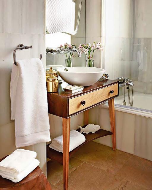 Reciclar una cómoda y convertirla en mueble de baño