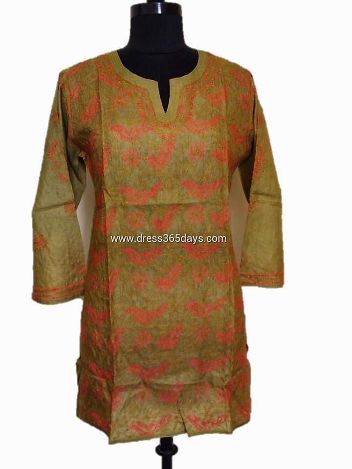 Mehandi Green Tussar Silk Kurti Online