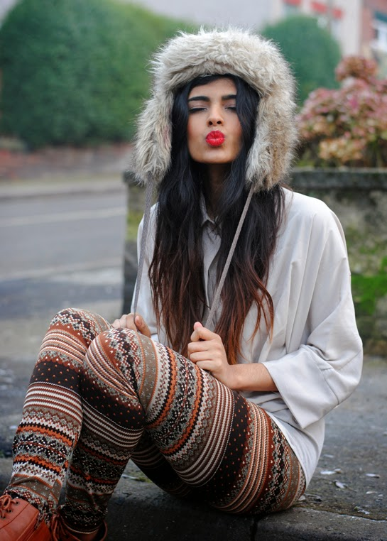 Cute Fur Hat with Colorful Legging and Suitable White Blouse