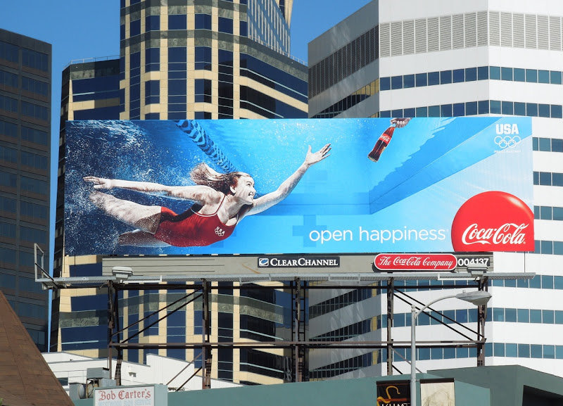 Coke Olympic swimmer billboard