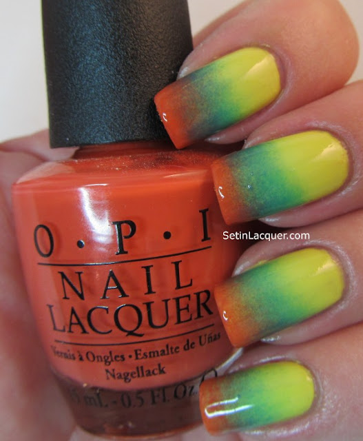 Gradient manicure with OPI Fiercely Fiona, Call me Gwen-ever and Fly.