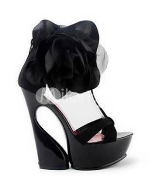 Sandales en satin noir avec fermeture à glissière
