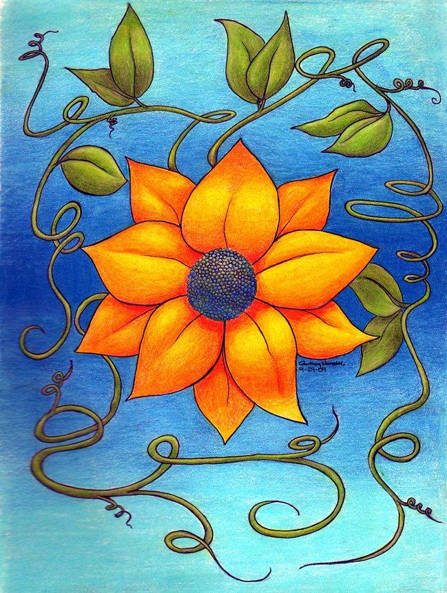flower colour pencil sketches - photo #32