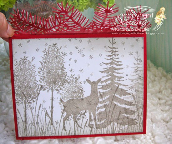 stamped winter scene