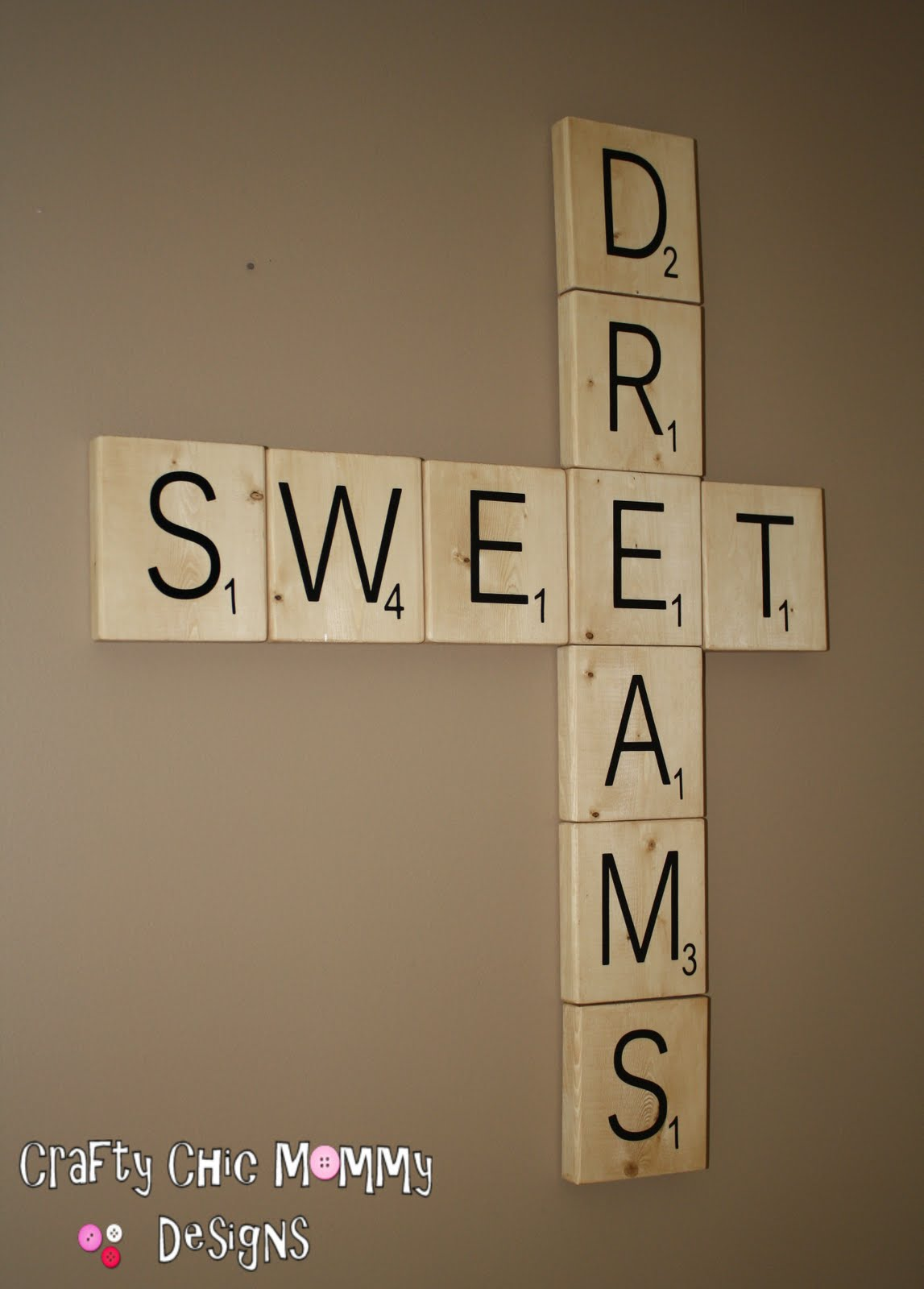 Crafty chic mommy giant scrabble tiles tutorial for Large scrabble letters wall decor