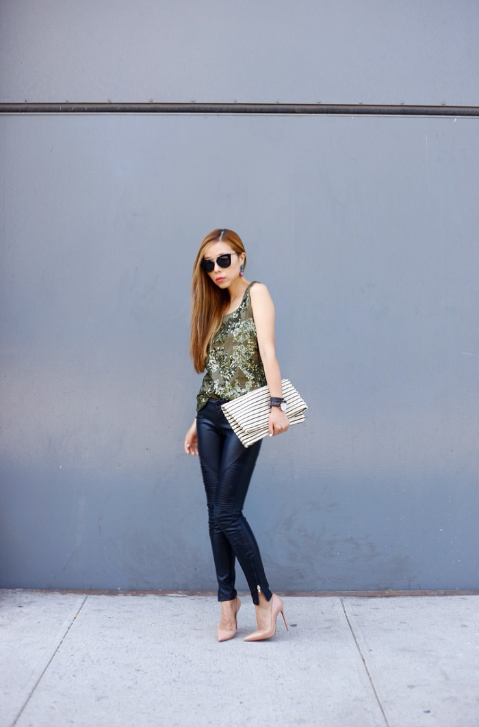 J.Crew iridescent sequin tank, nastygal sunglasses, prada retro sunglasses, baublebar statement necklace, blank denim moto pants, christian louboutin so kate heels, hat attack foldover clutch, hat attack new york, hermes bracelet, daniel wellington watches, fashion blog, street style, new york fashion blog