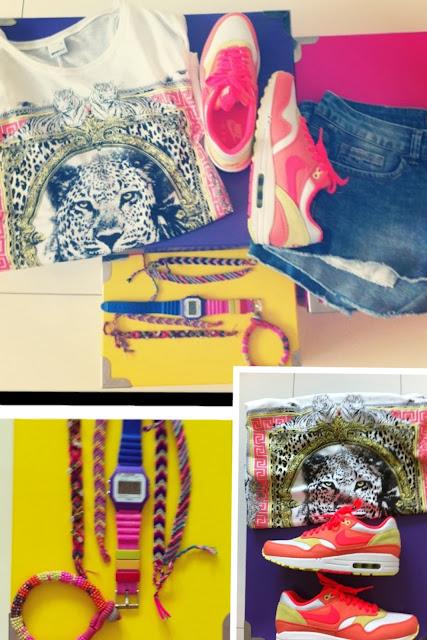 Gina Tricot T-shirt, Timex watch, Zara shorts, Nike Air Max 1, Friendship bracelets