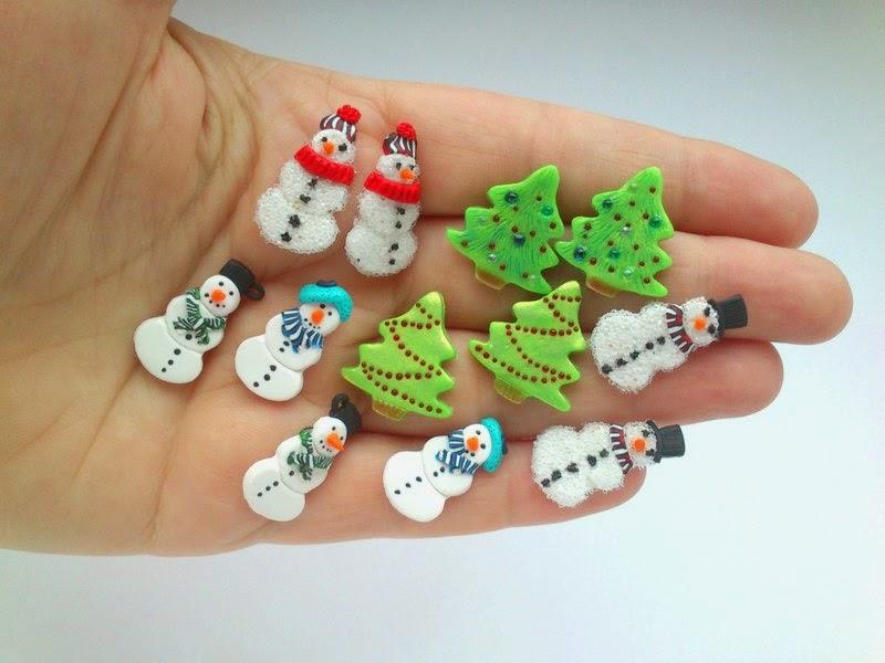 snowman, christmastree, earrings