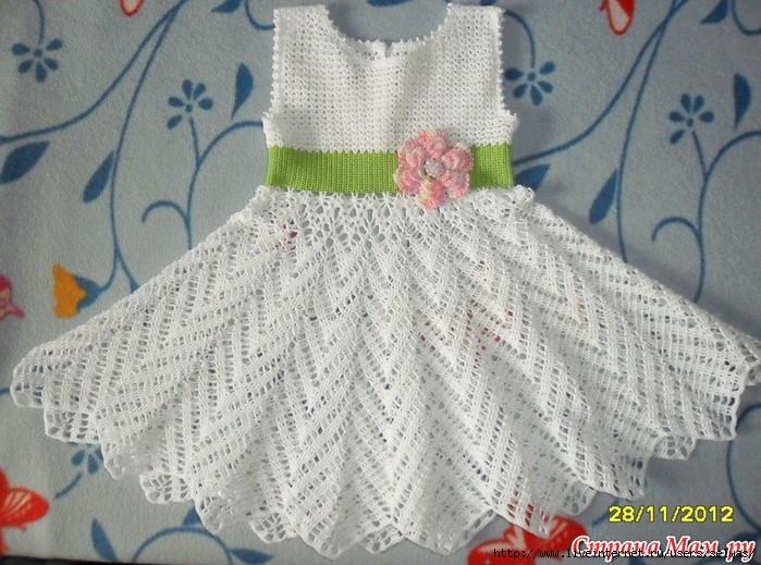 Croche Madona-mía puntos y graficos: Vestido Blanco para niña
