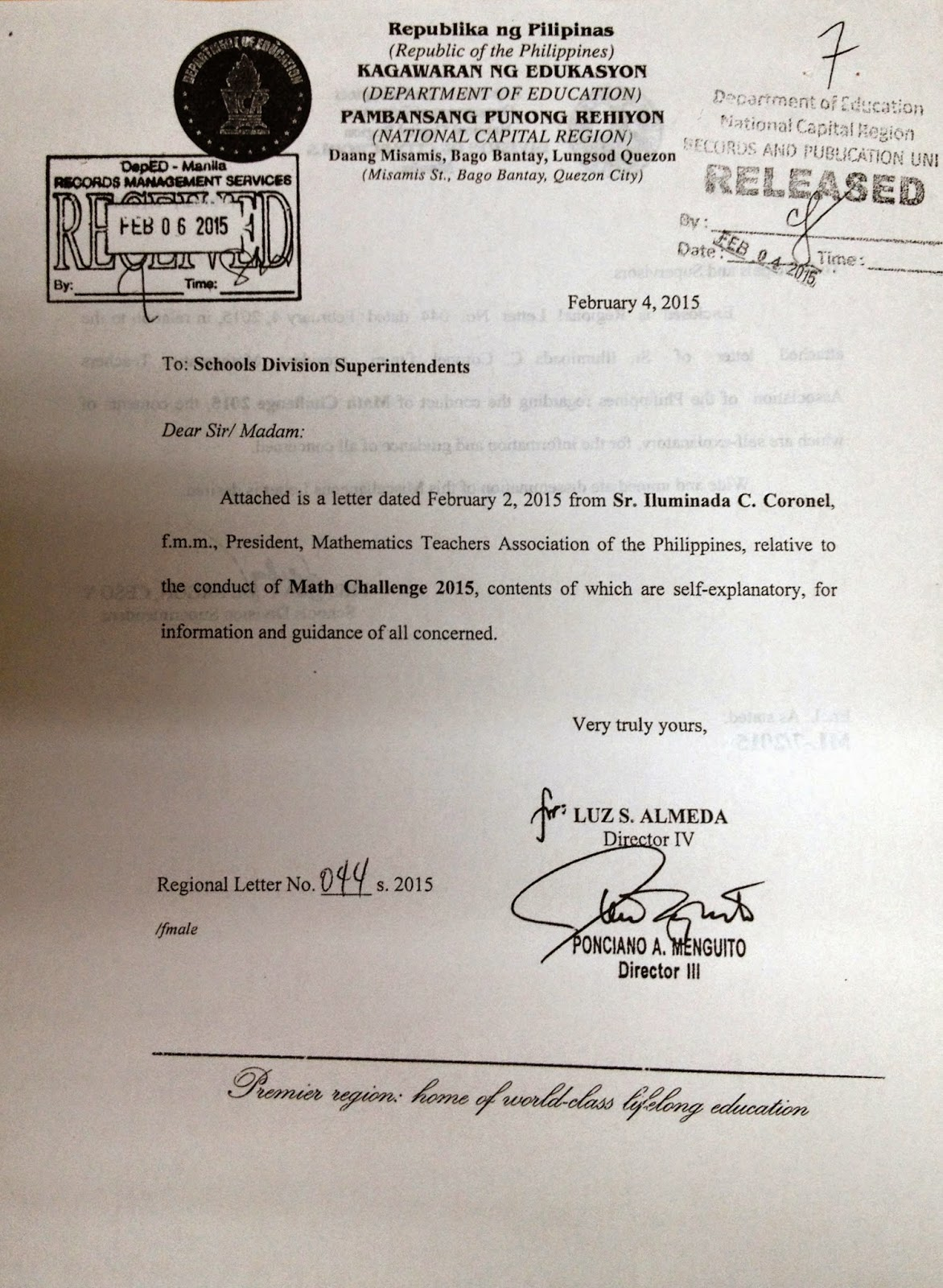 Department Of Education Manila Miscellaneous Letter No 7
