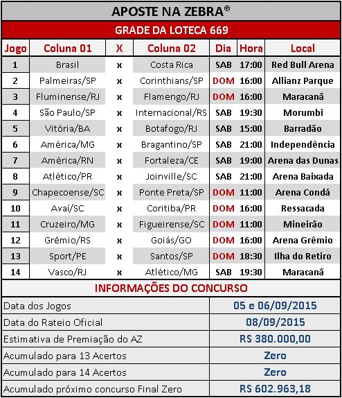 LOTECA 669 - GRADE OFICIAL DO AZ