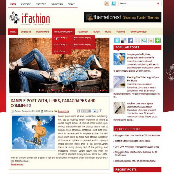 iFashion Blogger Template