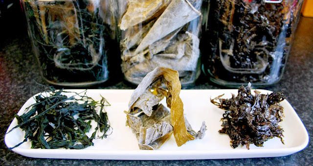 Beautiful dried seaweeds - kelp, laver and wakame.  Packed with nutrients, easy to cook with and delicious!