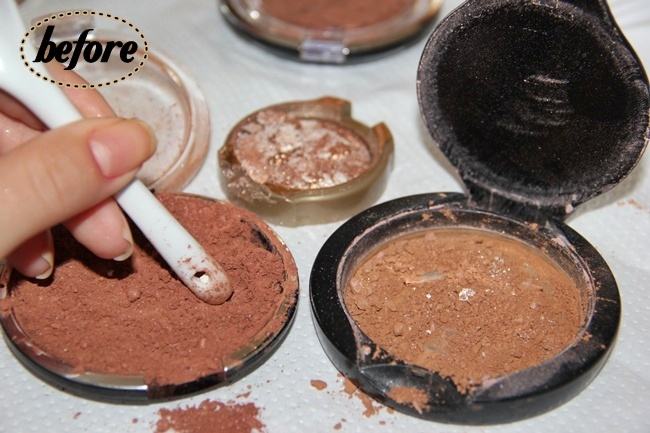 DIY Bronzer or How-to repair broken Powder/blush/broonzer/eyeshadow.How to turn loose into compact. How to fix broken makeup. DIY compact powder.