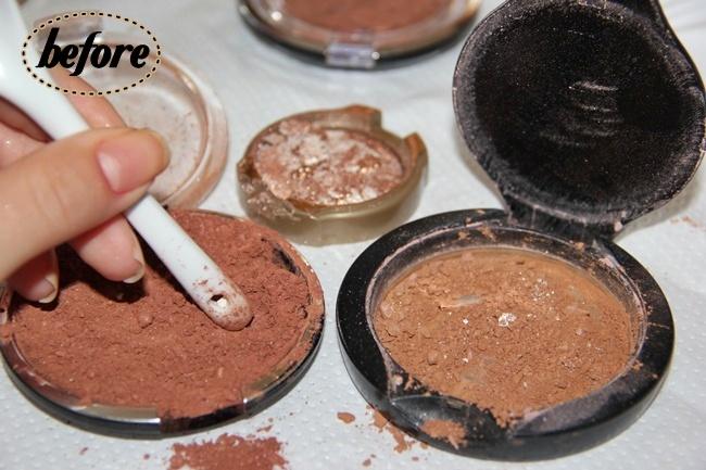 DIY Bronzer or How-to repair broken Powder/blush/broonzer/eyeshadow.How to turn loose into compact. How to fix broken makeup. DIY compact powder.