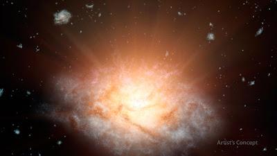 Astrônomos descobrem a galáxia mais brilhante do Universo